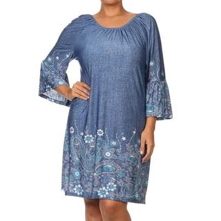 Women's Paisley Denim Plus-size Bohemian Dress