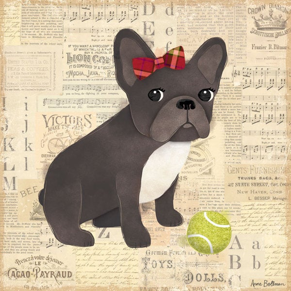 Oopsy daisy 'Frenchie Girl' 10 x 10-inch Stretched Canvas Wall Art