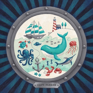 Oopsy Daisy One Great Adventure! Nautical Porthole 21 x 21-inch Canvas Wall Art