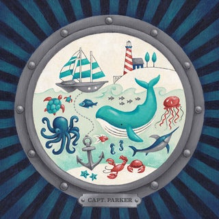 Oopsy Daisy One Great Adventure! Nautical Porthole 14 x 14-inch Stretched Canvas Wall Art