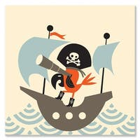 Oopsy daisy 'Land Ho!' 14 x 14-inch Stretched Canvas Wall Art