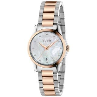 Gucci Women's YA126544 'G-Timeless' Diamond Two-Tone Stainless Steel Watch