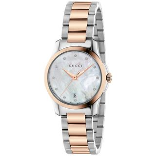 Gucci Women's YA126544 'G-Timeless' Diamond Two-Tone Stainless Steel Watch