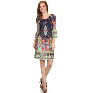 Women's Paisley Tapestry-printed Knit Bohemian Dress