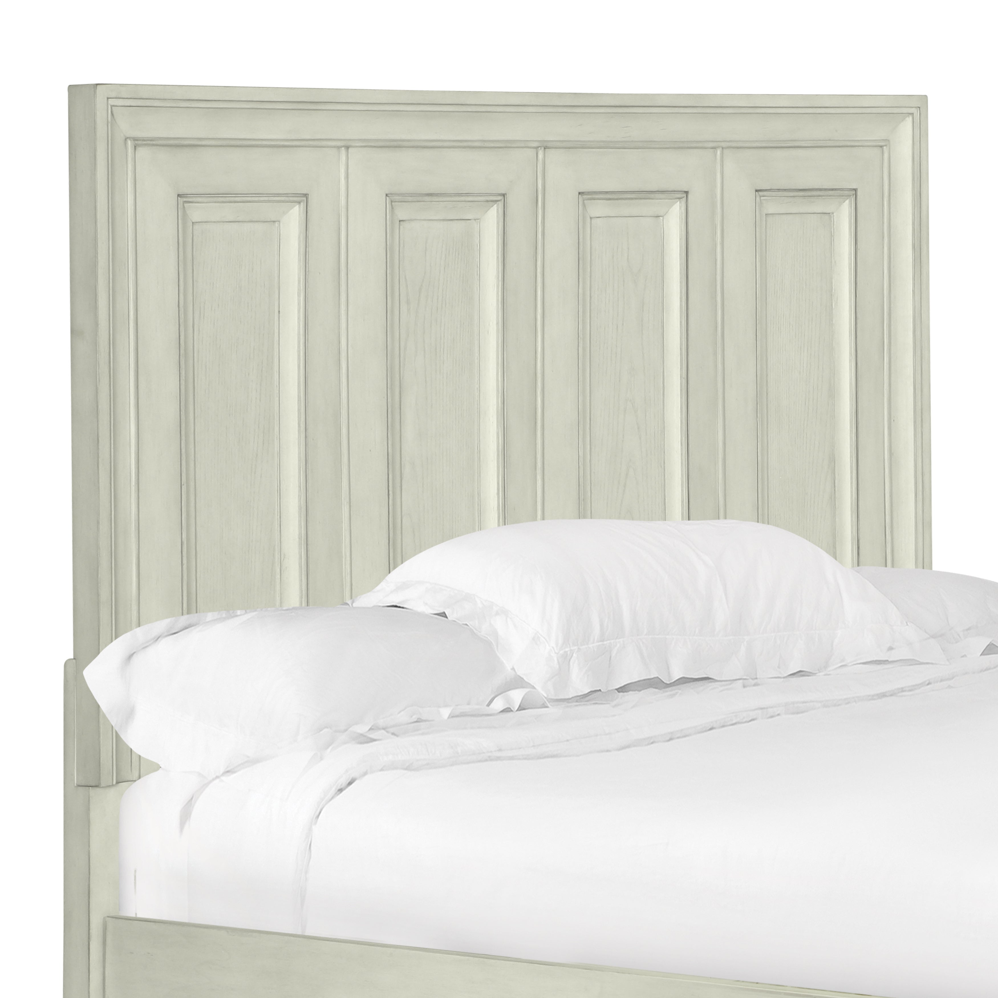 Raelynn Panel Bed Queen Headboard in Weathered White (Queen Panel Bed Headboard - Weathered White)