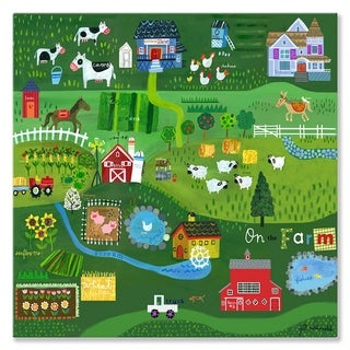 Oopsy Daisy On the Farm Stretched Canvas Wall Art