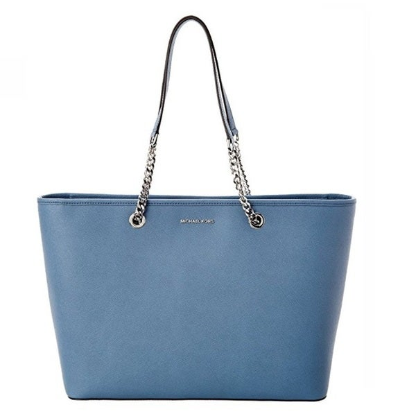 1f48b254bdbc07 Shop MICHAEL Michael Kors Jet Set Travel Chain Saffiano Leather Tote Denim  - Free Shipping Today - Overstock - 14706943