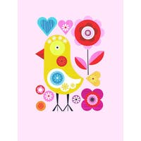 Oopsy Daisy 'Spring Chicken on Pink' Stretched Canvas Wall Art