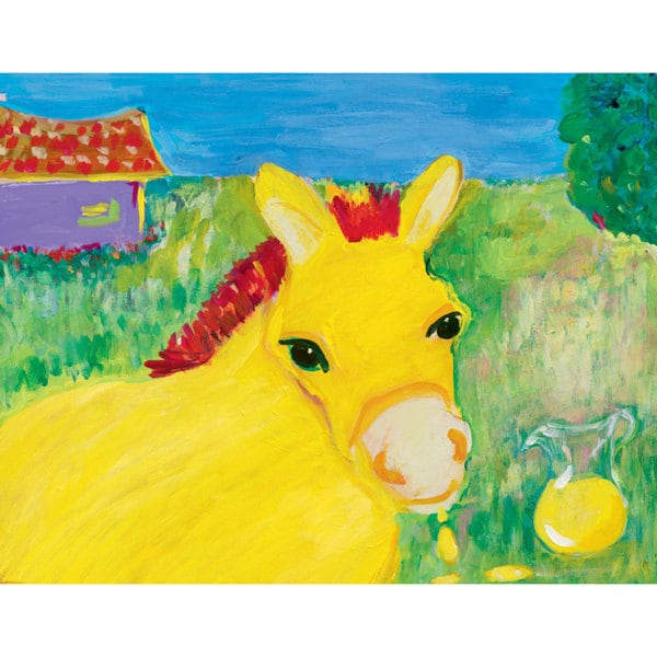 Oopsy daisy 'Lemon Neigh' 18 x 14-inch Stretched Canvas Wall Art