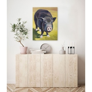 GreenBox Art + Culture 'Pig' 14 x 18-inch Stretched Canvas Wall Art
