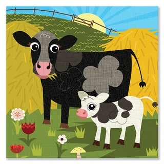 Oopsy daisy 'Cow Pasture' 14 x 14-inch Stretched Canvas Wall Art
