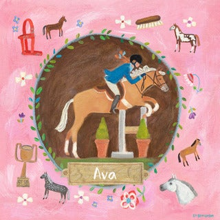 Oopsy daisy 'Equestrian Champion on Pink' 14 x 14-inch Stretched Canvas Wall Art