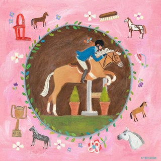 Oopsy daisy 'Equestrian Champion on Pink' 14-inch Stretched Canvas Wall Art