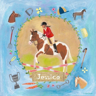 Oopsy daisy 'Equestrian Champion on Blue' 14 x 14-inch Stretched Canvas Wall Art