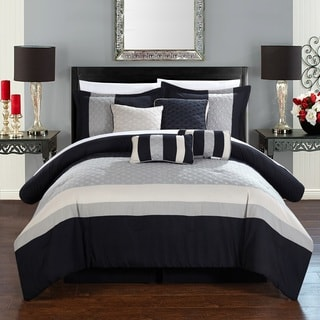 Chic Home 12-Piece Delmonte Black and Grey Comforter Set