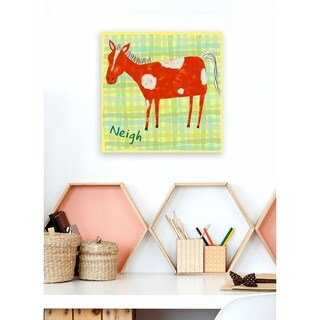 Oopsy daisy 'Horse Says Neigh' 10 x 10-inch Stretched Canvas Wall Art