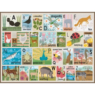 Oopsy Daisy Alphabet on Chocolate Stretched Canvas Wall Art