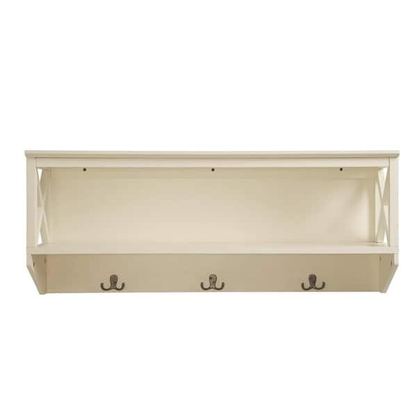 Shop Briarwood Home Decor Wood Wall Shelf With Hangers Overstock 14707188