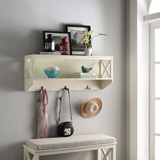 Briarwood Home Decor Wood Wall Shelf With Hangers