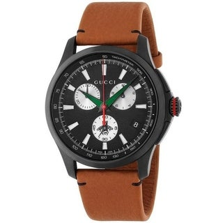 Gucci Men's YA126271 'G-Timeless Extra Large Bee' Chronograph Brown Leather Watch