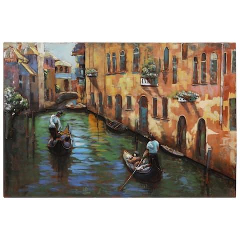"""Venice"" Mixed Media Iron Hand Painted Dimensional Wall Art"