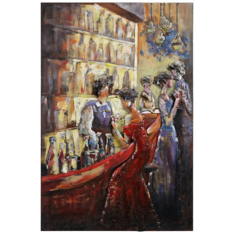"""""""Tavern"""" Mixed Media Iron Hand Painted Dimensional Wall Décor"""