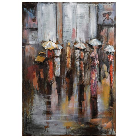 """Paris Rain"" Wall Sculpture Mixed Media Iron Hand Painted Dimensional Wall Art"