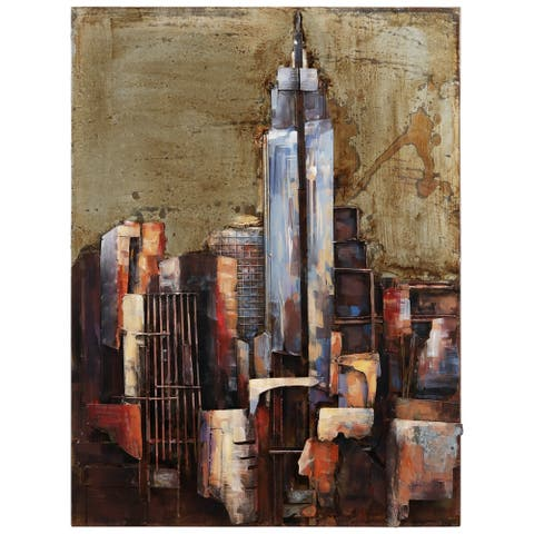 """""""The Empire State Building"""" Mixed Media Iron Hand Painted Dimensional Wall Décor"""