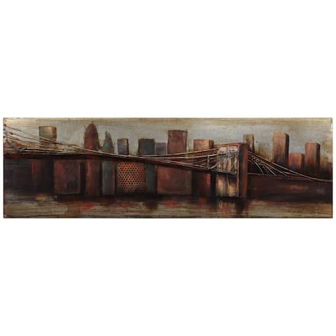 """Bridge"" Mixed Media Iron Hand Painted Dimensional Wall Art"