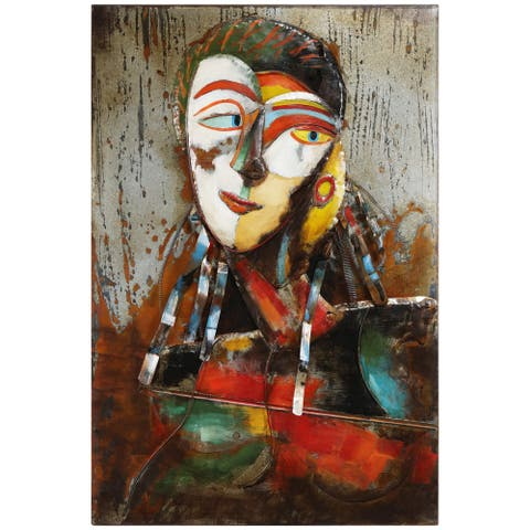 """""""Homme 1"""" Mixed Media Iron Hand Painted Dimensional Wall Décor"""