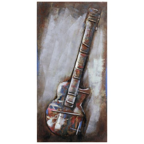 """""""Electric Guitar"""" Mixed Media Iron Hand Painted Dimensional Wall Art"""