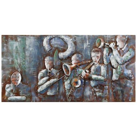 """Jazz Band"" Mixed Media Iron Hand Painted Dimensional Wall Art"