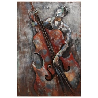 """The Bassist"" Mixed Media Iron Hand Painted Dimensional Wall Décor"