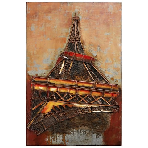 """""""Eiffel Tower 1"""" Mixed Media Iron Hand Painted Dimensional Wall Décor"""