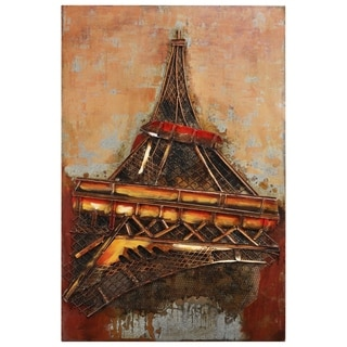 """Eiffel Tower 1"" Mixed Media Iron Hand Painted Dimensional Wall Décor"