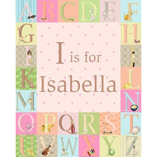 Oopsy daisy 'Classic Alphabet - Girl' 24 x 30-inch Stretched Canvas Wall Art