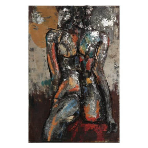 """""""Nude Study 1"""" Mixed Media Iron Hand Painted Dimensional Wall Décor"""