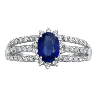 Beverly Hills Charm 14k White Gold Vivid Blue Oval Sapphire and 1/3ct Diamond Halo Engagement Ring (H-I, SI2-I1)