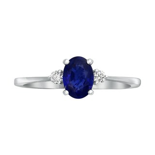 14k White Gold 1ct Natural Sapphire and Diamond Engagement Ring - Blue