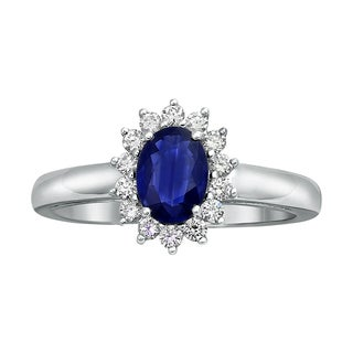 Beverly Hills Charm 14k White Gold Vivid Color Oval Blue Sapphire and 1/4ct Diamond Halo Engagement Ring (H-I, SI2-I1)