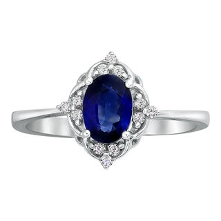 14k White Gold Oval Sapphire and 1/10ct Diamond Engagement Ring - Blue