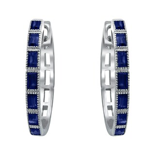 10k White Gold Blue Sapphire Round Hoop Earrings