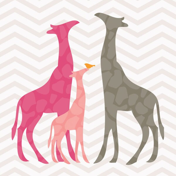 Oopsy Daisy Pink Modern Giraffes Canvas Wall Art - Free Shipping ...