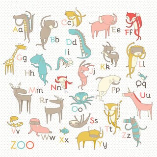 Oopsy Daisy Girl Zoo Alphabet Stretched Canvas Wall Art