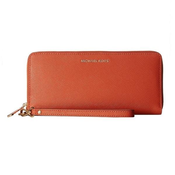 02d1568d974c Shop Michael Kors Jet Set Travel Orange Continental Wallet - On Sale ...