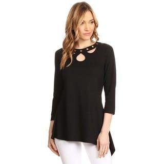 High Secret Women's Black Eyelet Embellishment 3/4-sleeves V-neck Top