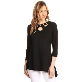 High Secret Women's Black Eyelet Embellishment 3/4-sleeves V-neck Top (4 options available)