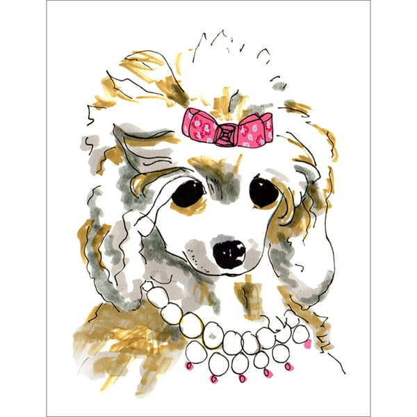 Oopsy Daisy \'Pearl Wearing Poodle\' Stretched Canvas Wall Art - Free ...