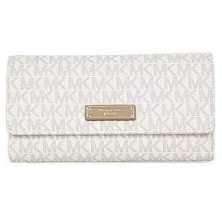 Michael Kors Signature Jet Set Vanilla Checkbook Wallet