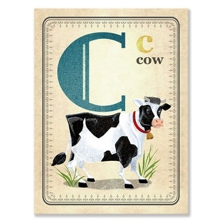 Oopsy daisy 'C is for Cow' 10 x 14-inch Stretched Canvas Wall Art